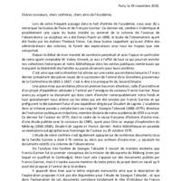 Texte de présentation du secrétaire perpétuel Pierre GÉNY